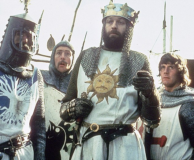 Worlds apart: Chapman's onscreen persona, pictured centre as King Arthur in the 1975 film Monty Python and the Holy Grail, was belied by his life of booze and sexual experimentation