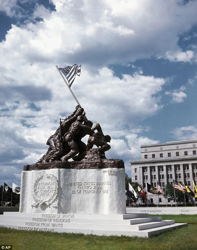 For sale: The original smaller statue of the iconic raising of the U.S. flag at Iwo Jima in 1945 is expected to fetch up to $1.8 million later this month at a New York auction dedicated to World War II artifacts