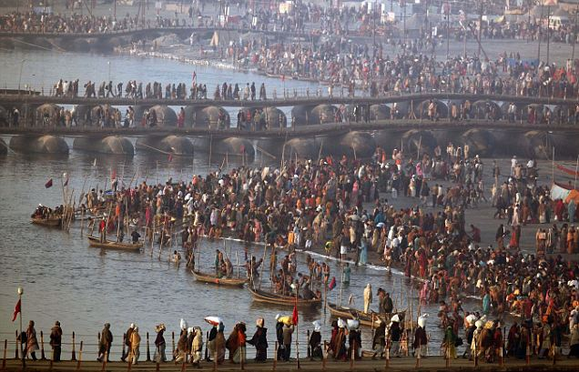 Devotees: The festival is held every 12 years and Sunday's bathing ritual is expected to be attended by 30 million people