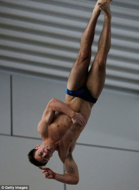 Champion: Tom Daley (pictured) easily retained his British national title in front of a sell-out crowd in Plymouth