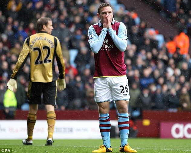 Miss of the season? Andreas Weimann reacts after missing a golden opportunity to open the scoring for Villa