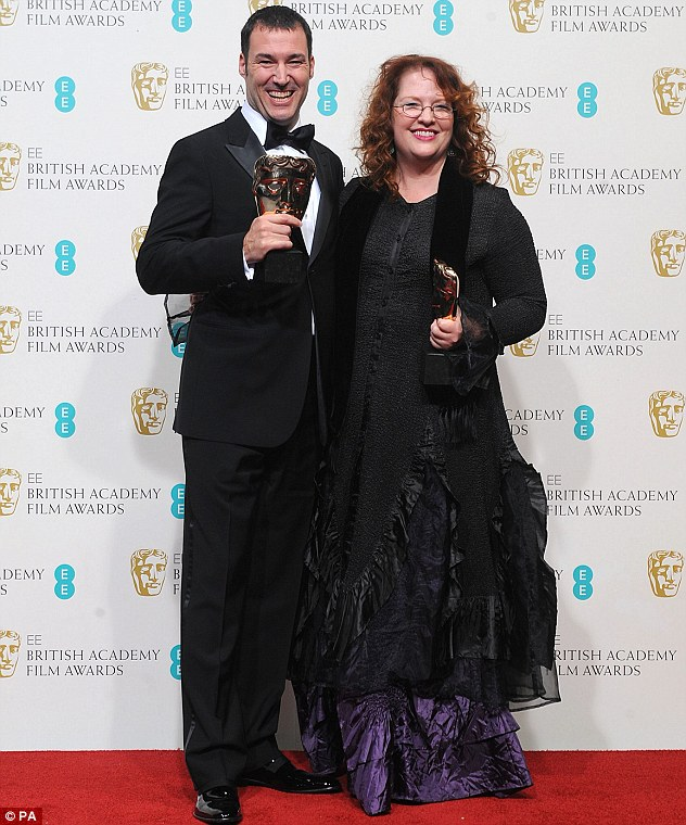 A film for adults and children: Mark Andrews and Brenda Chapman with the award for Best Animated Film for Brave