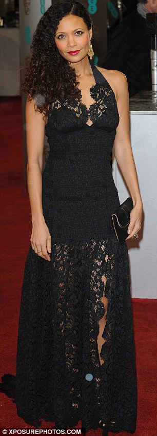 Thandie Newton looked stunning in her black gown