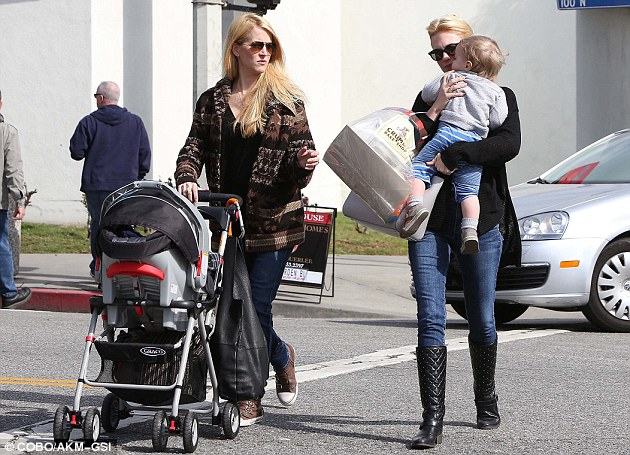 New moms: The actress spent the afternoon with a friend, who pushed a pram during the outing