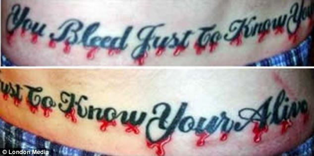 Schoolboy error: A lot of work went into this tattoo but sadly nobody bothered to check the difference between 'you're' and 'your'