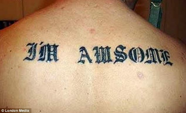 Lucky he can't see it: This man's misspelled tattoo is certainly less than 'awsome' or even awesome