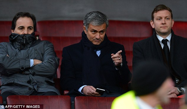 Scouting trip: Real Madrid boss Jose Mourinho was at Old Trafford on Sunday to watch United play Everton