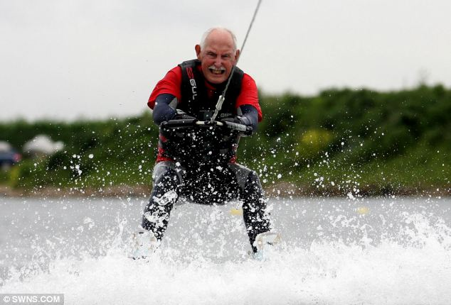 Charles Eugster takes a wakeboarding lesson in Tamworth, Staffordshire