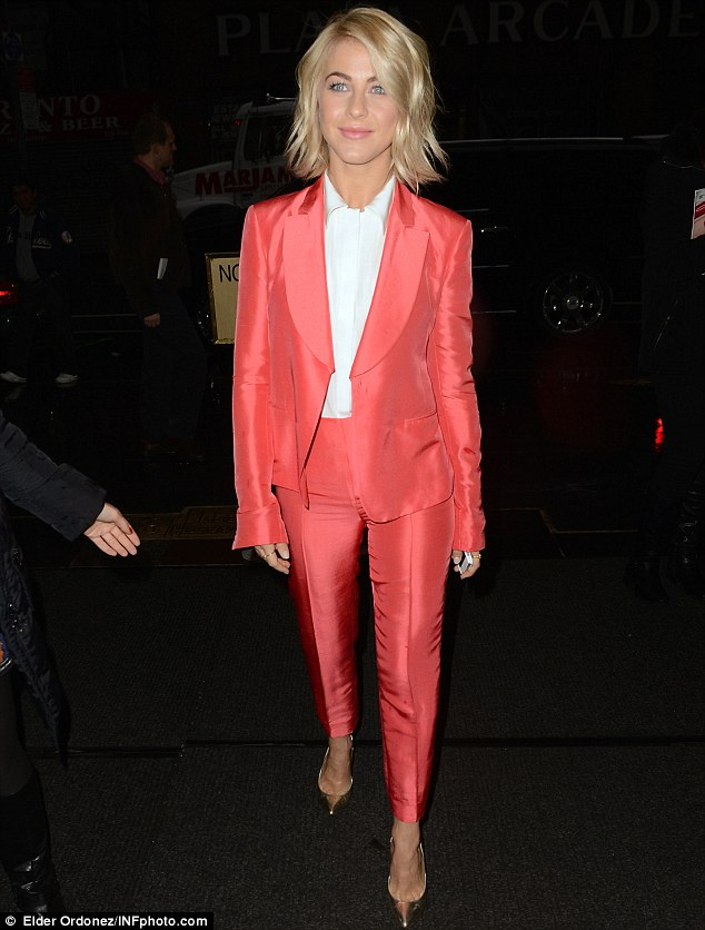 Pretty in pink: Julianne Hough looked lovely on Monday morning arriving at the NBC Studios to make an appearance on the Today Show in New York City
