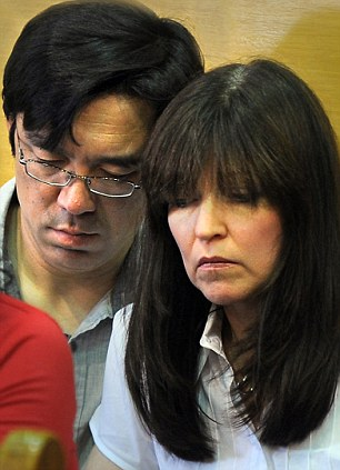 Distraught: Lauren's father Malcolm Astley (left) and Nathaniel's parents Tomo and Beth Fujita