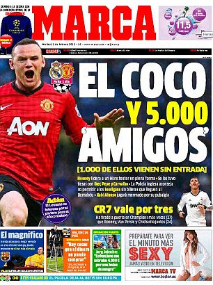 'Bad Boy': The front page of the Madrid-based daily Marca on Tuesday featured Wayne Rooney