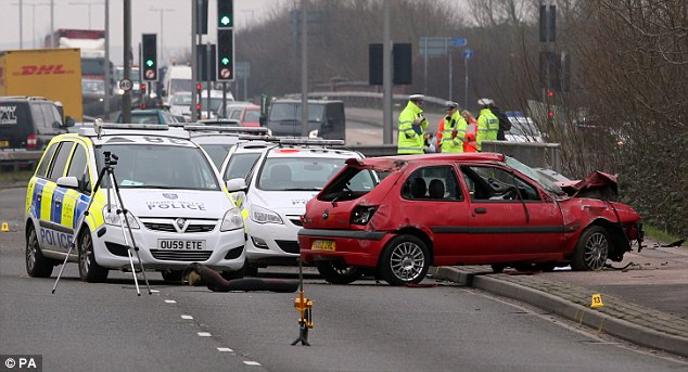 Fatal: The 19-year-old driver died at the scene after the red Fiesta somersaulted and landed back upright