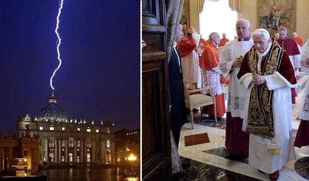 A signal from above? Lightning hits St Peter's hours after Pope Benedict stuns cardinals with first resignation in 600 years