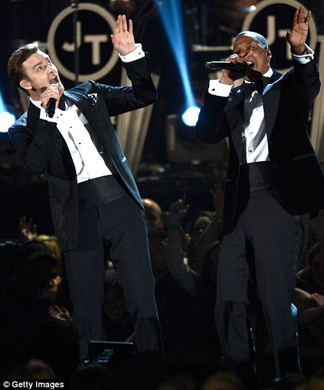 Dapper duo: Justin Timberlake and Jay-Z, pictured at Sunday's Grammys in LA, are tipped to tour together