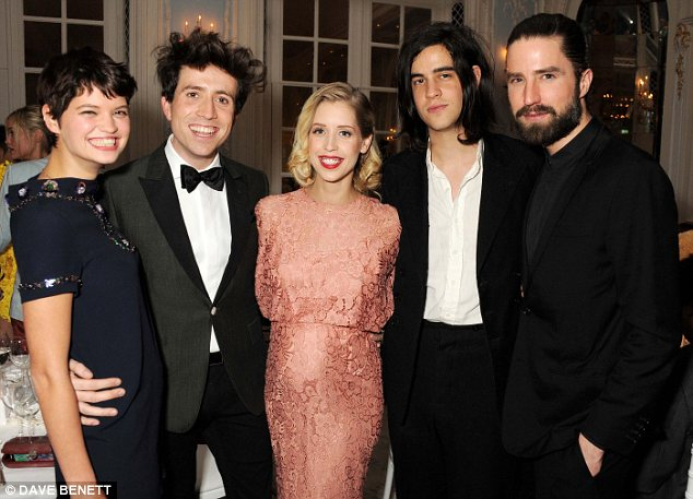 Friends reunited: The sisters were joined by Peaches husband Tom Cohen, Nick Grimshaw and DJ Jack Guinness