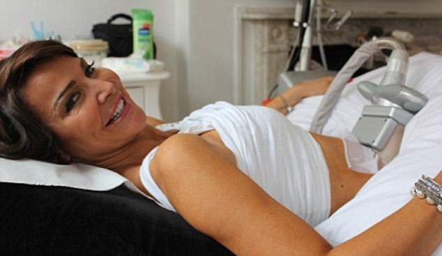 Freezing the fat: Former WAG Lizzie Cundy is a big fan of the Lipoglaze treatment which can be done on her lunchbreak