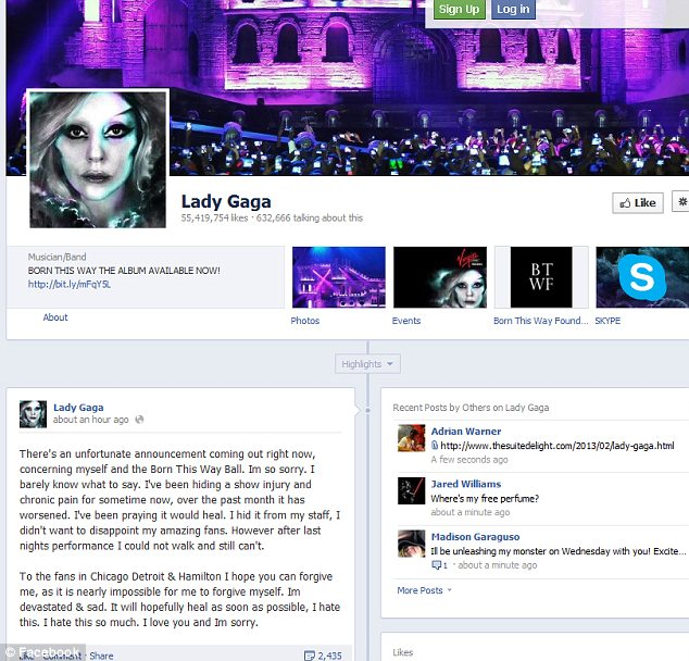 'I'm so sorry': The singer posted a message to her Facebook page explaining why she had to pull out of the shows