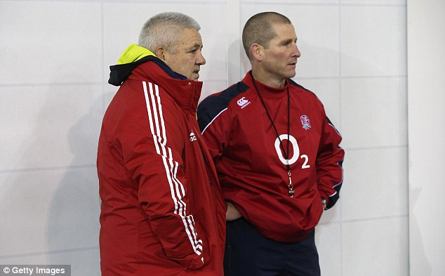 Explanation: Gatland met England coach Stuart Lancaster during a training session on Wednesday