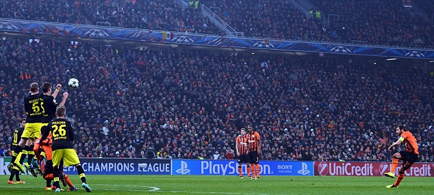 Curler: Darijo Srna whips a free kick over the wall and into the net to give Shakhtar the lead