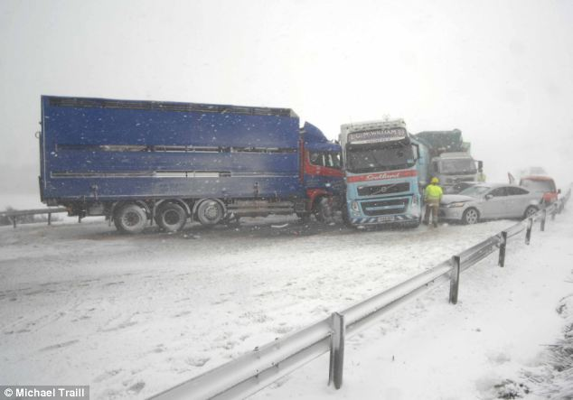 Ice smash: At least seven cars and lorries were involved in this accident on the A96 Huntly road in Aberdeenshire, Scotland, but thankfully there were no serious injuries