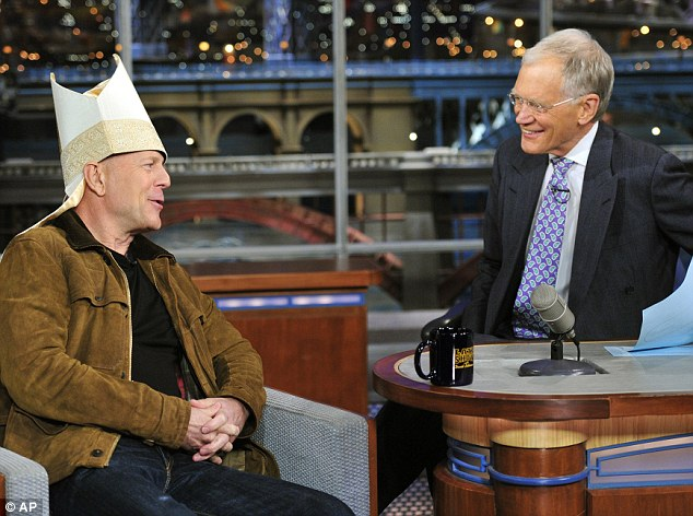 Clowning around: Bruce joked around about becoming the new Pope with David Letterman on his Late Show with David Letterman on Tuesday