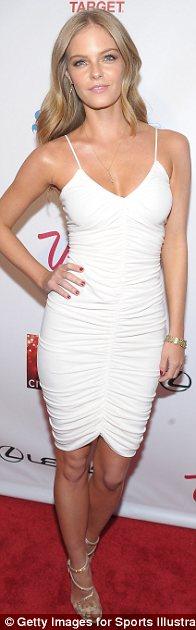 They've got the white stuff: (L-R) Nina Agdal, Jessica Perez and Anne V all chose white mini dresses