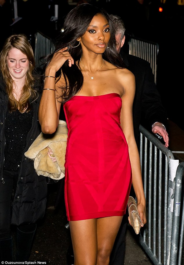 Red hot: Model Adaora certainly made an entrance in a daring mini dress