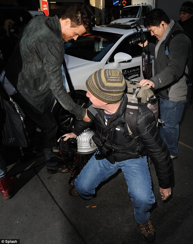 Good Samaritan: Josh kindly helped out a paparazzo who fell over while trying to snap a photo of the star