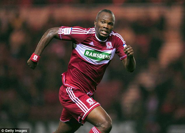 On a high: Middlesbrough defender Andre Bikey