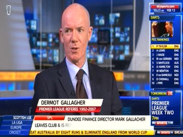 Hot water: Gallagher was speaking on Sky Sports News this morning