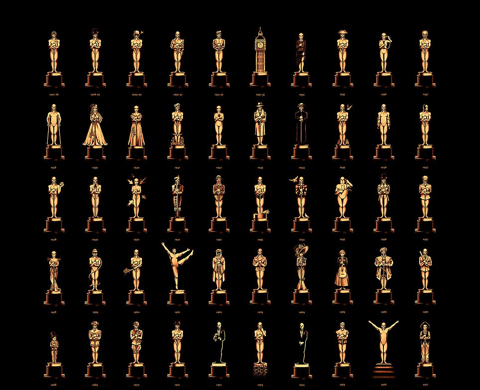 British artist Olly Moss designed 84 statuettes to represent each film that has won Best Picture Oscar for the 85th Academy Awards