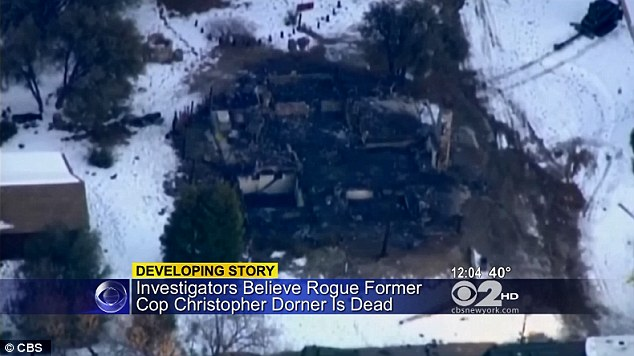 Burned to the ground: This is the wreckage of the cabin where Christopher Dorner is believed to have died