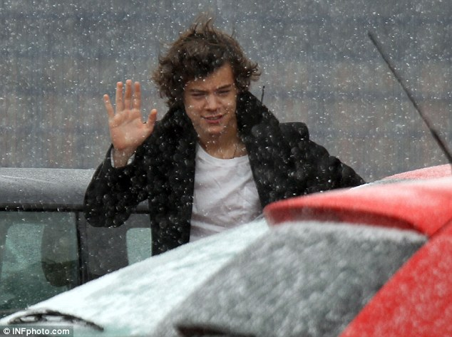 Not exactly well prepared: Harry didn't look like he was enjoying being in a blizzard