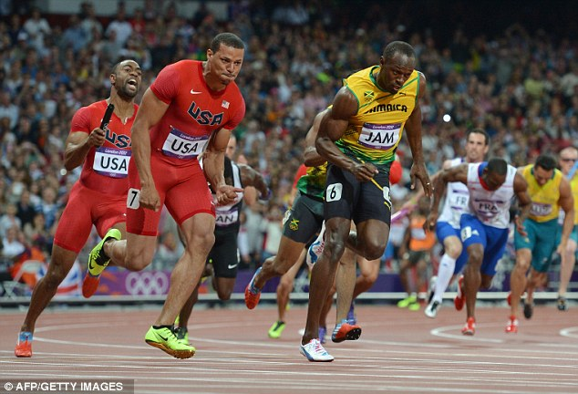 League of his own: Bolt sprints home for Jamaica in the 4x100m relay in the Olympic Stadium