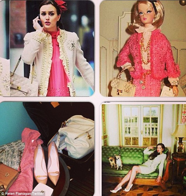 Style inspiration: Helen tweets a photo of her 'mood board' that inspired her Blair Waldorf-esque outfit, completely with a Barbie doll