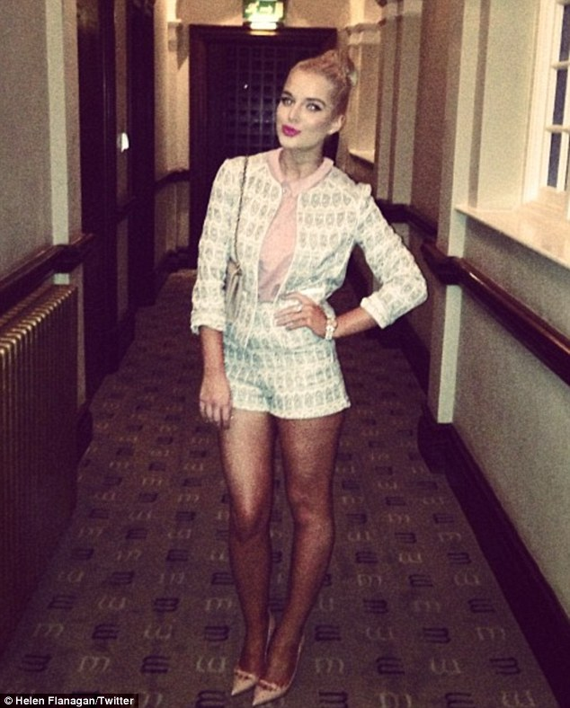 Manhattan chic: Helen Flanagan embraces Gossip Girl's Blair Waldorf in her Topshop short suit, posting a picture to her Twitter account on Wednesday