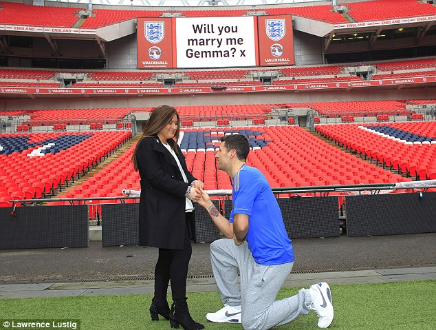 The big question: Darren Barker proposed to girlfriend Gemma at Wembley Stadium