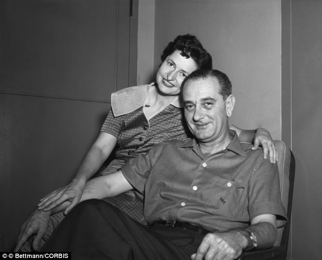 Lovebirds: LBJ, then Senate Majority Leader, poses with his wife at Bethesda Naval Hospital after he suffered a heart attack