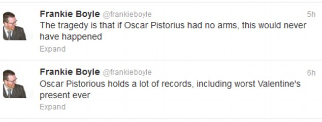 Distasteful: Comedian Frankie Boyle was also criticised for making jokes about the shooting