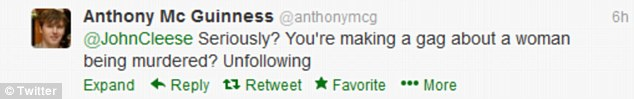 Anger: Twitter user Anthony McGuinness hits out at John Cleese's tweet today
