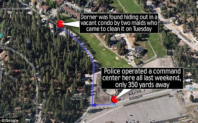 Hiding under their noses: Dorner was discovered in a condo half a mile from a temporary command center
