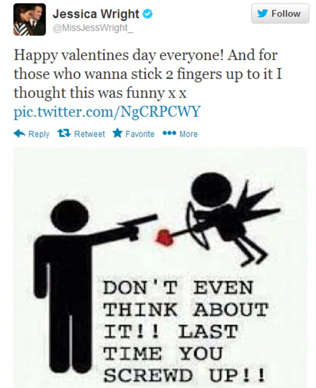 Bad timing: Jessica's Valentine's tweet was rather unfortunate given the current headlines