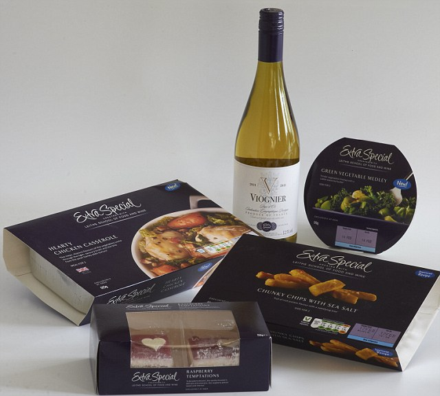 The Asda Valentine's Deal: Pick a nain, 2 side dishes, a pudding and a bottle of wine from the Extra Special range, £15