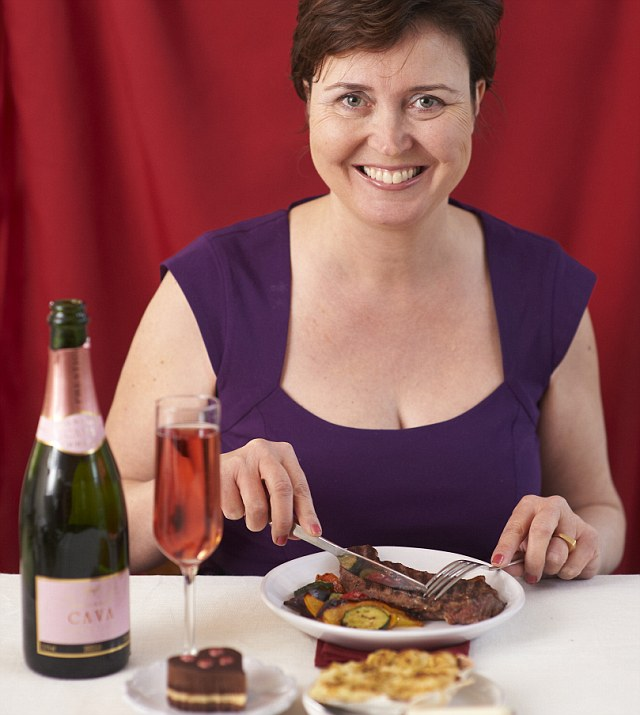 Enjoying the winning meal: Amanda Cable tucks into the to the top rated Valentine's deal, scroll down to see who won...