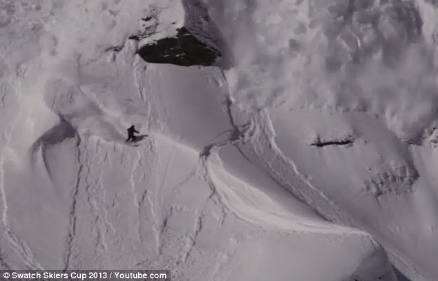The Swatch Skiers Cup film crew caught these stunning aerial shots of Liliequist pulling ahead of the avalanche after his flip