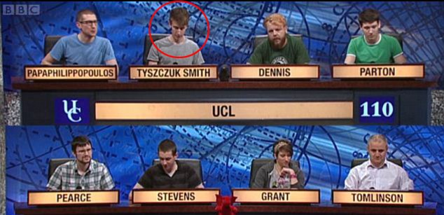 'A shy boy': Tom (circled) hardly looked up from the very beginning of the show, looking no closer to tears when Paxo delivered his history lesson than when he was getting question after question right