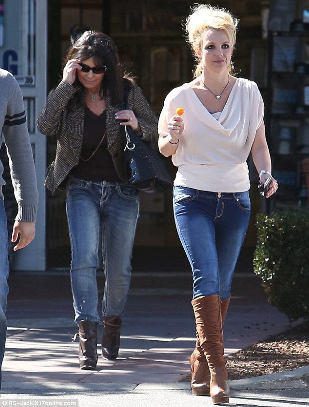 Retail therapy: Newly single Britney Spears spent her Valentine's Day shopping with her mother Lynne