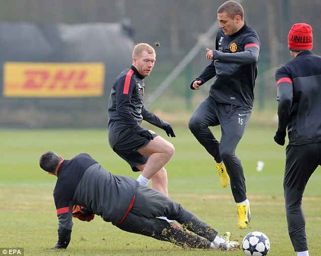 Out: Paul Scholes was in training with Manchester United ahead of their trip to Real Madrid