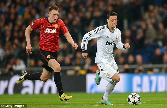 Enforcer: Phil Jones put in a good shift in defensive midfield for Manchester United