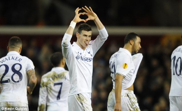 Happy Valentine's Day: The Welshman celebrates his first free-kick on the stroke of half-time